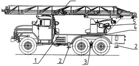 Автолестница пожарная АЛ 30, основные узлы