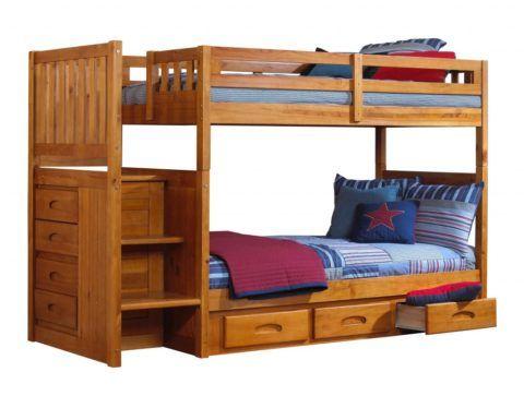 Детская двухъярусная кровать с лестницей и ящиками