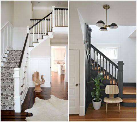 Дизайн коридора с лестницей на второйэтаж в условиях небольшой свободной площади может быть выразительным за счет оригинального аксессуара