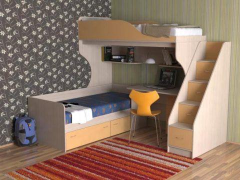 Двухъярусная кровать с ящиками в лестнице и с рабочим местом