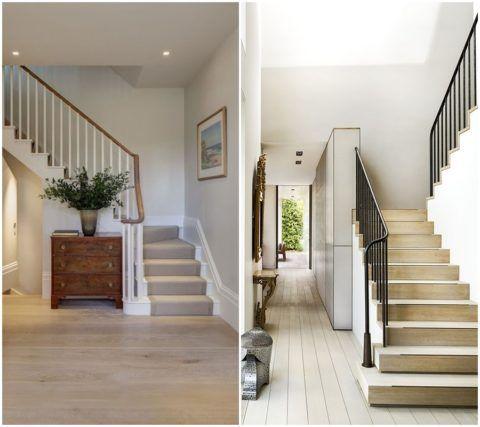 Интерьер коридора с лестницей в частном доме
