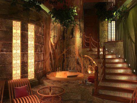 Интерьер паровой бани с мозаичной лестницей