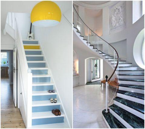 Контрастное оформление ступеней одинаково эффектно смотрится и на простой деревянной маршевой конструкции в скромной прихожей, и на изящной лестнице из натурального камня в просторном холле