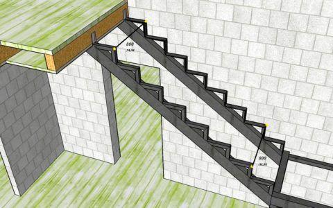 Косоур опирается на балки площадки и перекрытия второго этажа