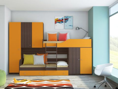 Кровать являет собой целый мебельный комплекс