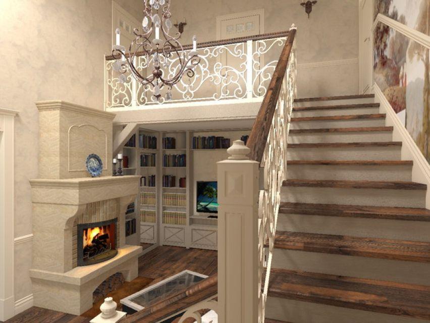 любом гостиная с лестницей фото в стиле прованс руками