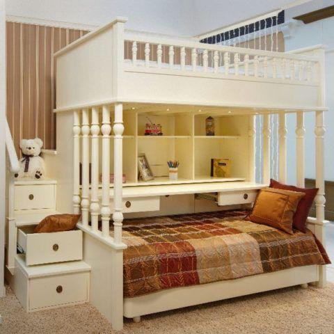 Лестница для двухъярусной кровати с ящиками и зона для творчества