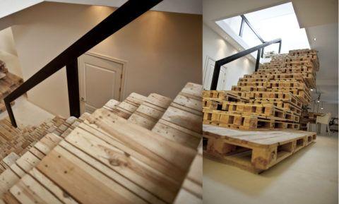 Лестница из поддонов своими руками со стартового фото: вид сверху и спереди