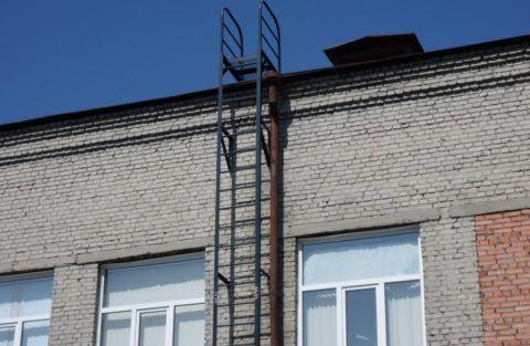 Лестница металлическая наружная вертикальная пожарная серия П1-1