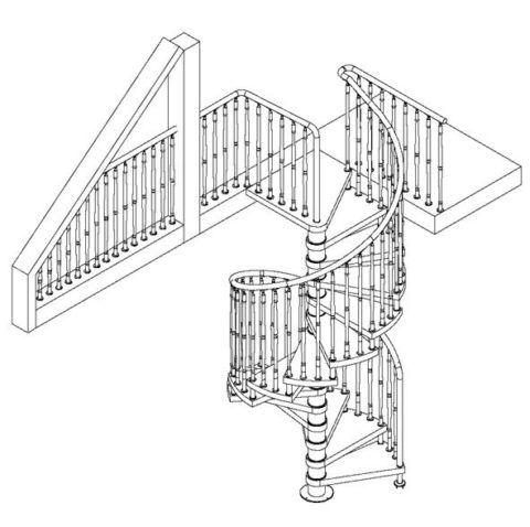 Модель винтовой лестницы с ограждением