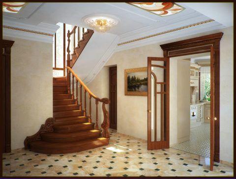 Прихожая с лестницей из натуральной древесины