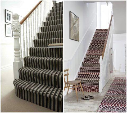 Разбавить однотонность светлого коридора можно при помощи пестрой ковровой дорожки на ступенях