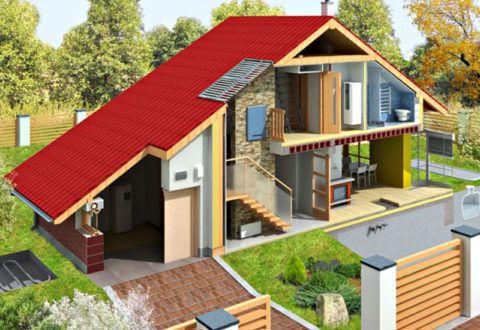 Разрез жилого дома по лестнице