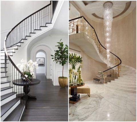 Сочетание ступеней и материала напольного покрытия зрительно связывает первый и второй этаж дома