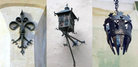 Создать интерьер в готическом стиле помогут кованные металлические светильники