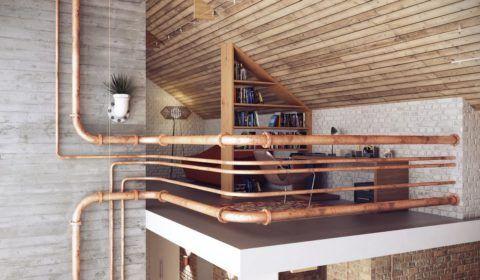 Старые коммуникационные трубы оформлены в интересные ограждения зоны отдыха на втором уровне дома