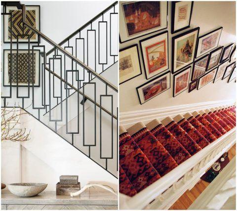 Цветовая гамма картин или панно на стене должна перекликаться с цветом ступеней и перил