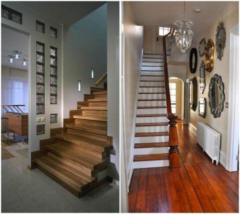 В качестве источников искусственного света можно использовать подсветку в стенах и ступенях или красивый потолочный светильник
