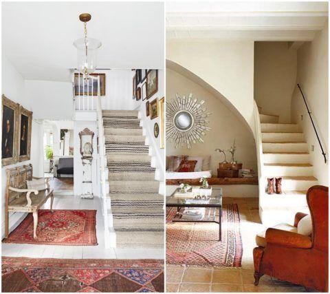 В качестве напольного покрытия можно использовать окрашенную древесину или керамическую плитку – эти материалы удачно подчеркивают интерьеры, выполненные в этно-стилях и кантри