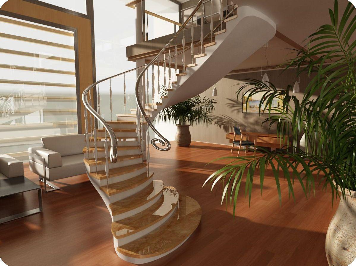 Лестница как центральный элемент гостиной