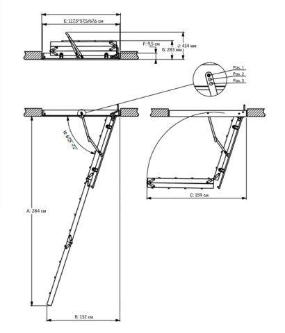 Чертеж чердачной складной лестницы
