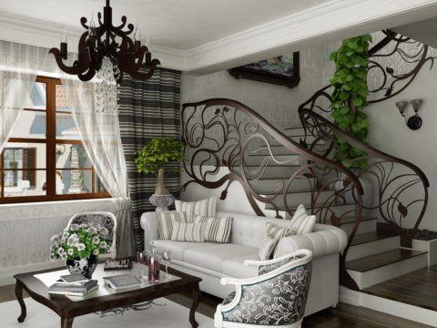 Дизайн маленькой гостиной с лестницей в стиле модерн