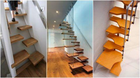 Компактной, эргономичной и оригинальной является лестница конструкции «утиный шаг»
