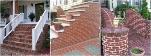Ограждения лестницы в дом могут выполняться из кирпича, натуральной древесины, которая хорошо с ним сочетается или вовсе отсутствовать