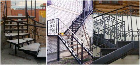Ограждения на поворотные лестницы из металла