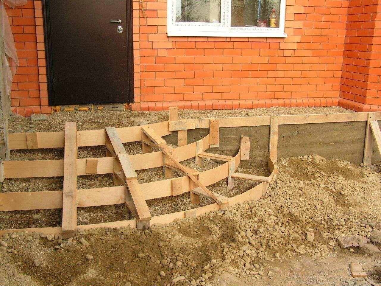 как залить полукруглые ступеньки из бетона