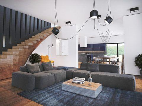 Оригинальная лестничная конструкция из натуральной древесины гармонично дополняет интерьер в современном стиле