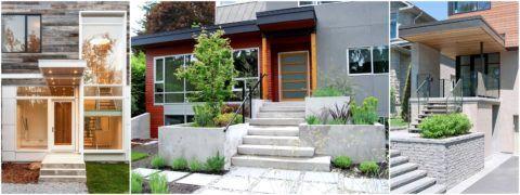 Оригинальные ограждения лестницы можно встретить на фасадах современных домов