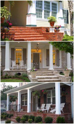 Особенно гармонично сочетается такое крыльцо с кирпичным фасадом дома
