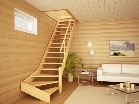 Поворотная лестница из дерева
