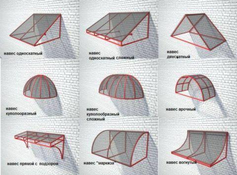 Разновидности конструкций навесных козырьков