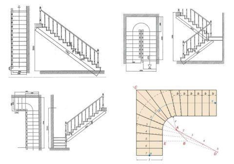 Схемы к расчетам лестниц разных конструкций