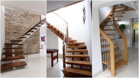 Современные деревянные лестницы с забежными ступенями