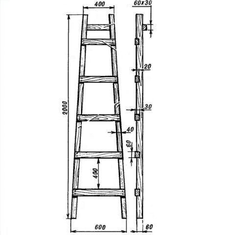 Такой чертеж деревянной приставной лестницы поможет определить количество ступеней и глубину их врезки
