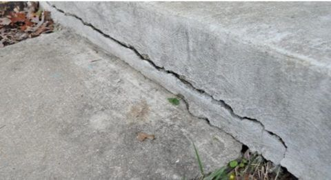 Трещина на бетонном крыльце