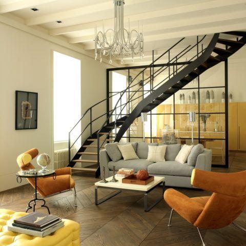 В условиях свободной планировки конструкция позволяет разделить пространство на зону гостиной и кухни