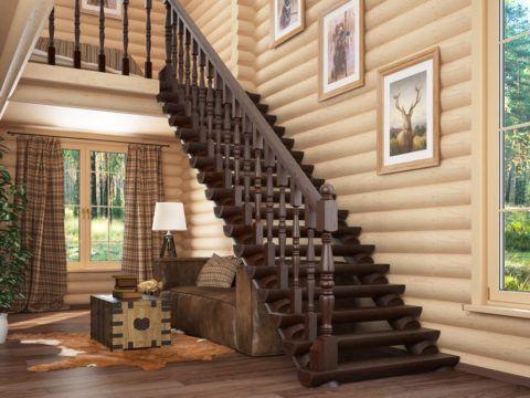 Вариант отделки деревянной лестницы