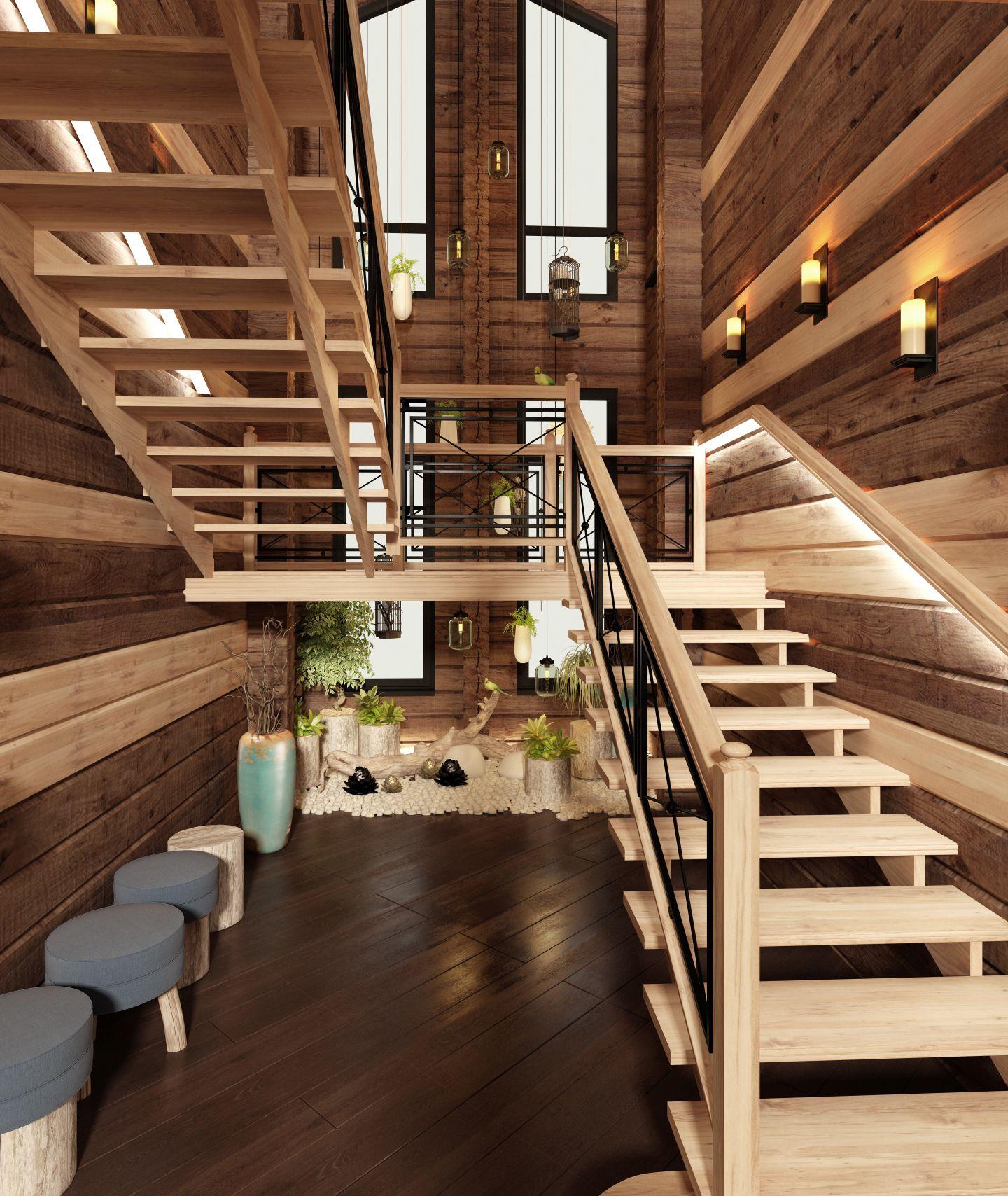 Свет на лестнице в загородном доме фото