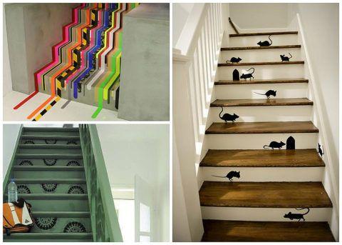 Декоративные лестницы в интерьере, оформленные наклейками