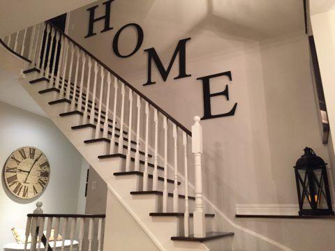 Декорирование лестницы своими руками при помощи накладных букв