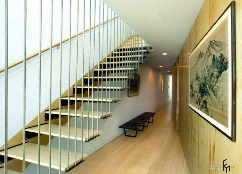 Дизайн лестницы на 2 этаж в стиле модерн