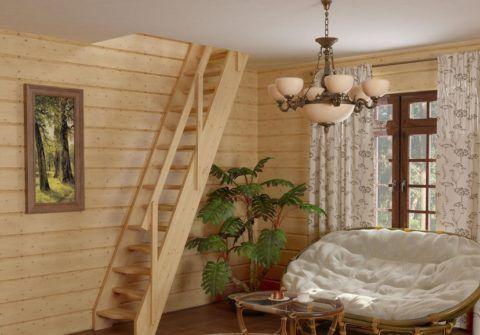"""Готовые деревянные лестницы из сосны, модель """"К-007М/40"""""""