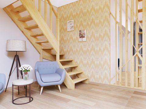 """Готовые деревянные межэтажные лестницы """"UniScala LW-03-2"""""""