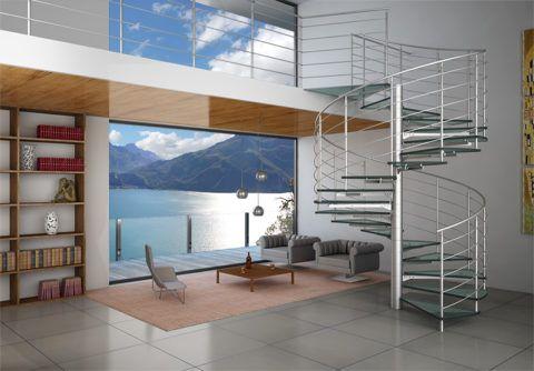 Интерьер холла с лестницей из нержавеющей стали