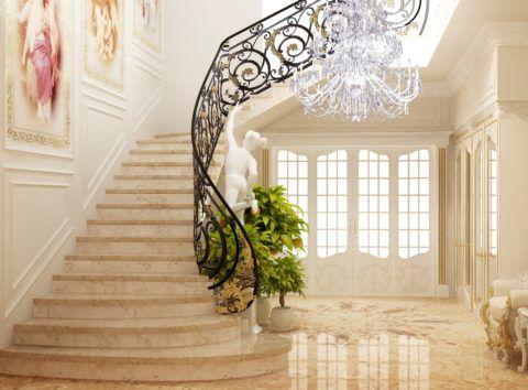 Классическую конструкцию устанавливают в просторном холле