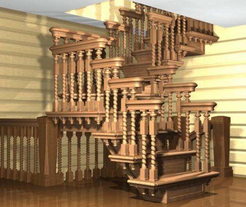 Надежно, безопасно и очень красиво – великолепное деревянное ограждение длялестницы в щитовом доме
